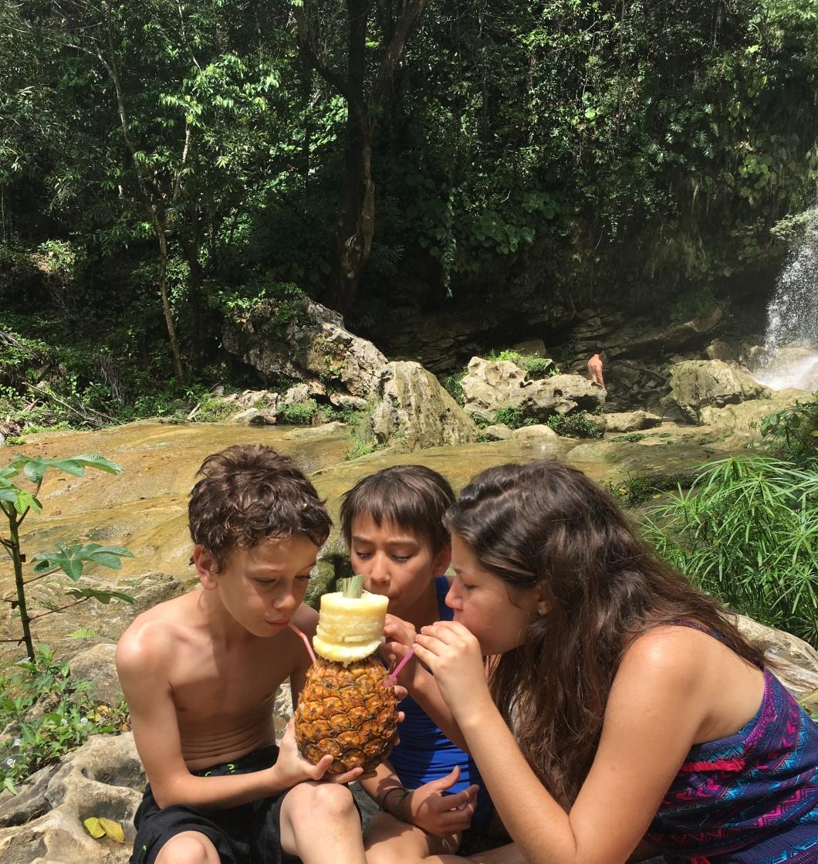 Pina colada at the waterfall